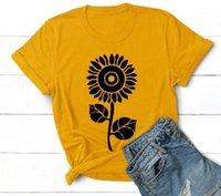 اختياري تي شيرت كاندي الألوان سليم ملابس للسيدات مصمم عارضة أزياء صيف جديد بلايز عباد الشمس طباعة متعدد الألوان