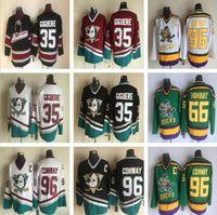 Mighty Ducks Movie Jerseys 66 Gordon Bombay 96 Charlie Conway Hockey Jersey Green 35 Giguere Vintage Mens Jerseys