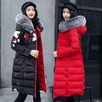 MUJERES DOWN PARKAS 2021 Mujeres Chaqueta de invierno Llegada con piel con capucha con capucha ambos dos lados se pueden usar un abrigo largo algodón acolchado acolchado caliente para mujer