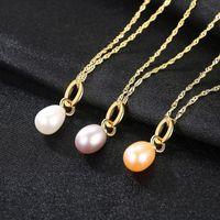 체인 Sanyu Simple Natural Pearl Pendant 목걸이 여성을위한 쥬얼리 신부 결혼 선물 925 스털링 실버 Fn0103