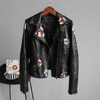 2020 최고 브랜드 여성 재킷 꽃 자수 부드러운 가죽 여성 자켓 코트 캐주얼 PU 오토바이 펑크 겉옷 인쇄하기