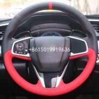 Üst Siyah Kırmızı Deri Araç Direksiyon El dikişli 2017 2016-2017 CRV CRV Wrap Kapak For Honda Civic 10. günü