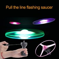 LED Flying Toy 25cm Spinning Flyer Luminous Flyings Light Handle Flash Hand Pull Rope Fly wheel Lights Up Toys Color Random