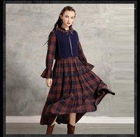 Moda Stil Bayan Giyim Bow Gündelik Giyim Bayan Kış Tasarımcı Retro Elbiseler 2PCS Ekose Sonbahar yazdır