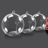 Vidrio vela titular de vela de cristal titular de vidrio colgando de la bola Tiesto romántica decoración del hogar de la boda de 8 cm / 10 cm / 12 cm HHA1567
