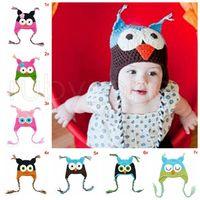 Дети Мультфильм Теплый Малыш Сова уха лоскут вязаные шапки для новорожденных Детские Handmade крючком Симпатичные OWL Шапочки Партия Шляпы Supplies RRA3467