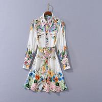 Europäische und amerikanische Frauen Kleidung 2020 neue Art des Herbst lange Hülse Blumendruck Tasche Band Modernes Kleid
