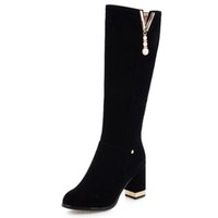 2020 Women Side Zipper Comfortable Square Heel Knee high Boo...