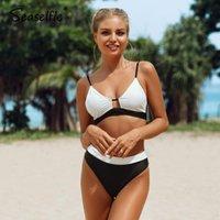 المرأة ملابس السباحة SEASELSILE مثير أبيض وأسود Colorblock بيكيني مجموعات ملابس السباحة منتصف مخصر قطعتين النساء 2021 الدعاوى الاستحمام الشاطئ