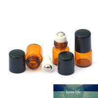 DHL Ambre Verre vide Bouteille 1ml Ambre Rouleau boule en métal Rouleau Perfume Echantillon Huile essentielle Flacon en verre liquide Livraison gratuite
