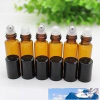 300set / lot 5ml Braunglasrollerflaschen mit Metall / Glas-Kugel für Ätherisches Öl, Aromatherapie, Parfüm und Lippenbalsam