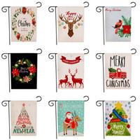 2020 Рождество тема шаблон Флаги Санта-Клаус Печать Сад Баннеры Две стороны снеговика Patterns нескольких цветов флага 47 * 32см