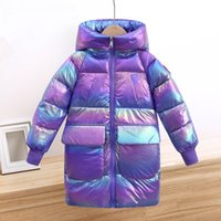-30 gradi nuovo modo lungo caldo parka Giacca di cotone ragazzo lucido del cappotto vestiti della ragazza dei bambini Outfits scherza i vestiti snowsuit