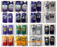 Vintage 32 Karl MaloneUtahCazGerileme Jersey 12 John Stockton Donovan Mitchell 45 Rudy Gobert 27 Conley Basketbol Formaları