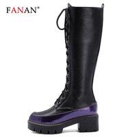 Botas Fanan Fashion Platform Knee High Mujer Trans Cross Strap Negro Otoño Invierno Ladies Thick Sole Botas Mujer