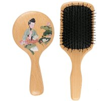 Beech Natural Boar Bristles Anti- static Wooden Massage Comb ...