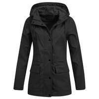 Plus Size Women' s Solid Rain Jacket Outdoor Hoodie Wate...