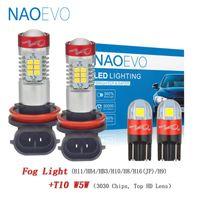 NAOEVO H11 LED W5W 4 3 1300Lm H10 H16 H8 voiture Phares antibrouillard 6W 9006 9005 12V 194 Pour F30 E39 E36 X5 E70 E53 lampe intérieure