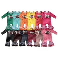 Девочки Футбол Rompers хлопка Полька Dot Печатные Малыша девушки Комбинезоны нашивки Сборки Infant Boutique легкий костюм с шортами Детская одежда BT5783