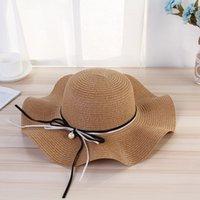 Ampla borda chapéus de sol pérola pingente arco babados sunshade weaving verão praia outdoor chapéu elegante doce na moda