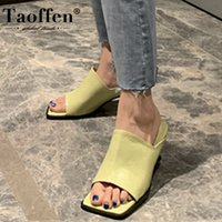 Taoffen Women Sandals Fashion Slippers Summer Shoes Woman High Heel Flip Flop Casual Daily Lady Home Party Footwear Size 35-39