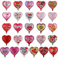 Dia dos Namorados Festa Ballons Eu te amo Balões de coração Balão de alumínio Balão de casamento de casamento Decoração 26 Designs DW5767