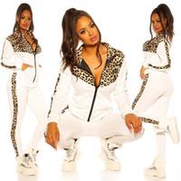 여성 운동복 디자이너 레오파드 긴 소매 스웨터 지퍼 자켓 코트 바지 레깅스 패치 워크 컬러 캐주얼 정장 스포츠 E82604