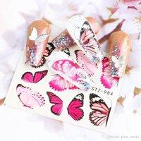 Mode-Schmetterlings-Nagel-Aufkleber Wassertransfer Abziehbilder Bunte Blau Schwarz-Entwurfs-Nagel-Kunst-Maniküre Sliders Wraps Foils