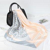Seidenschal Frauen Hijab Mode Foulard Weiche Bandana 90 * 90cm Quadrat Tücher und Wraps Satin Kopf / Haar Schal