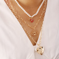 Yeni Fahion çok katmanlı inci boncuk zincir kolye göz kalp charms kolye kolye kadınlar için