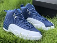 2020 رخيصة بالجملة وصول جديد 12S الجديدة TAXI مباراة فاصلة كرة السلة للرجال أحذية الأزرق بقعة سوداء 12S احذية الرياضة الحجر الأزرق الحجم الولايات المتحدة 7-13