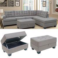 США Stock Три пьеса диван наборы Наборов мебели Секционного шезлонг и хранение Османской L Форма диван в гостиной Мебель SM000049EAA