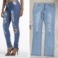 mujeres del otoño Vaqueros ajustados estiramiento apenada rasgado Denim Jeans Agujeros polainas de los pantalones de pierna recta pantalones largos Boutique Ropa LY8101