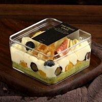 20pcs creativo imballaggio quadrato torta di pasta dura scatola di plastica del partito snack box fai da te regalo di biscotti favori trasparenti scatole 400ml