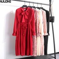 Nijiuding 2020 outono curva colarinho cinturão vestidos mulheres elegante manga completa plissada fêmea vestidos floral impressão vestido 22 cores