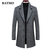 BATMO new arrival winter high quality wool plaid trench coat...