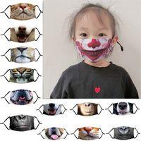 Animales divertidos de la boca de la mascarilla del niños adultos de impresión en 3D Mascarillas prueba de polvo anti-UV ajustable de la mascarilla máscaras protectoras con filtro lavable