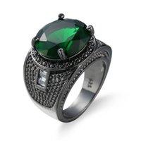 Vintage Party Kobiety Ring Green Crystal Fashion 14kt Black Gold Wedding Engagement Pierścienie dla kobiet / Mężczyzn Biżuteria