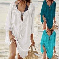 Kadın Mayo Kadınlar Seksi Gevşek Plaj Giyim Yaz Mayo Kapak Up Mayo Takım Elbise Tunik Elbise Katı Gömlek 2021 Vestidos