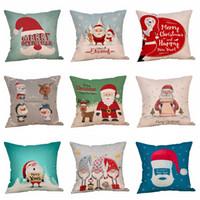 La funda de almohada de dibujos animados de Navidad 18 * 18 pulgadas modelo de Santa Claus precioso cubierta de almohadas vida sofá del amortiguador de asiento cubiertas decorativas VT1714