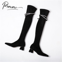 Prowow New Fashion Style Black Women Over the Knee Boots Pointed Toe Slip On Thick Mid Heel Women Winter Boots Shoes Woman
