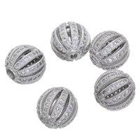10 mm Boules de melon d'eau Micro Zircon desserrées Spacer Craft Perles européennes CZ pour Charm Bracelet Collier Mode bricolage Faire des bijoux