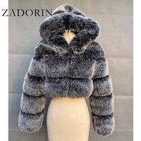 Escudo con la chaqueta con capucha de piel de invierno Zadorin alta calidad peludo recortada piel de imitación de abrigos y chaquetas Mujeres Fluffy Top MANTEAU femme 200921