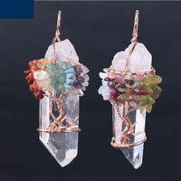 Hommes Big Gemstone Pendentif Femmes Naturel Cristal Blanc Quartz 7 Chakra Tree of Life Rose Gold Handmade Collier Collier Collier Charms