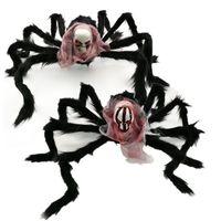 Halloween-Dekoration Spinne Geisterfest-Party-Produkt Horror 75cm Nachahmung Schädel Plüschspinne Geistkopf Spinne