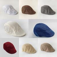 100pcs Erkek ilkbahar ve sonbahar İngiliz Retro keten ördek dil Bere düz renk ileri şapka gündelik moda şapka 9color T500248