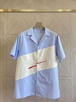 20ss İtalya Paris Yeni erkek Moda Kısa Kollu Boy Nakış Şerit Bowling Gömlek Erkek Kadın Kısa Kollu ZDL0617.