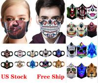 Хэллоуин Маска для лица Ледяная шелковая 3D Печать Череп Страшная Маска Многоразовые Моющиеся Анти пыли Маски для Party Masquerad Masks FY9180