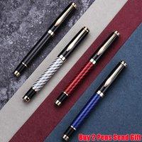 Hot Verkauf von Luxus-Carbon-Faser-Metall-Roller Kugelschreiber Geschäftsleute Schreiben Unterschrift Pen Buy 2 Pens Geschenk senden