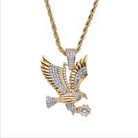 Eagle Hawk Хип-хоп Мужского ожерелье Подлинного Позолоченная Micro Циркон Подвеска ювелирных изделия европейские и американские Hot